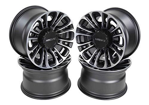 MASSFX QUAKE 12x7 4/156 ATV/UTV Rims Machined RZR Black Finish 4 Pack Wheels 4+3 Offset (Atv Aluminum Rims)