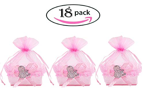 Noex Direct 18PCS Baby Shower Candy Bags Candy Bottle or Wedding Favors Bags,2.96 1.96 1.96inch Mini Drawstring Organza Candy Basket for Baby Shower Birthday Wedding Party Gift -