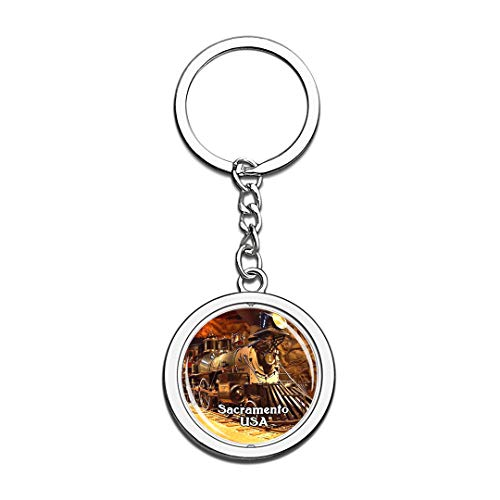 USA United States Keychain California State Railroad Museum Sacramento Key Chain 3D Crystal Spinning Round Stainless Steel Keychains Travel City Souvenirs Key Chain Ring