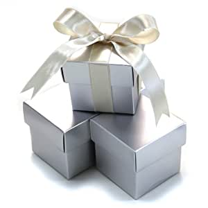 Koyal 2-Piece 50-Pack Square Favor Boxes, Silver