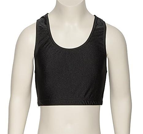 Katz Dancewear Ladies Girls Black Nylon Lycra Dance Gym Sports High Neck Crop Top KCTN-7