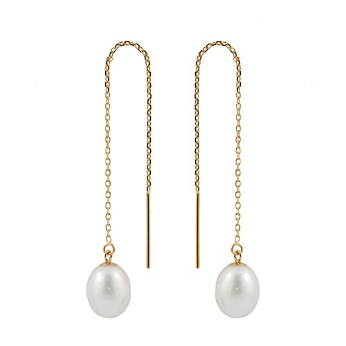 14K Yellow Gold Threader Drop Earrings with 7.5-8mm AA Quality White Freshwater Cultured Pearls ()