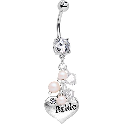 Body Candy Handcrafted Bride Luxe Steel Dangle Belly Ring Created With Swarovski Crystals - Belly Button Rings Wedding