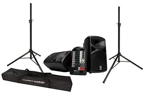 Yamaha StagePAS 400i Portable PA System Bundle with Ultimate Support JS-TS50-2 JamStands Series Tripod Speaker Stands (2 items)