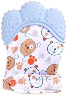 Azul Mordedor de Dientes Beb/é Correa Ajustable Protege Manos Beb/és de Masticar y Aliviar Dolor de Enc/ía Manopla de Dentici/ón Kalavika Guante Mordedor Beb/é Silicona Edad 3-18 Meses