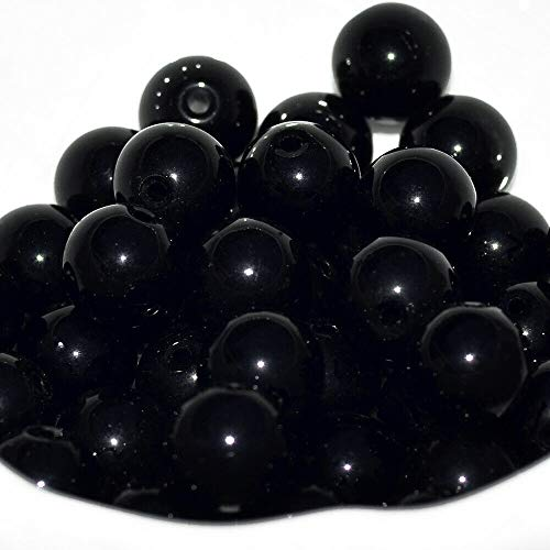 Wholesale Lot Natural Gemstone Round Spacer Loose Beads (10mm, 39_Black Onyx) ncLA13