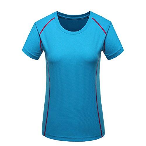 Price comparison product image NAKEKA Women's Lightweight Sport Running Climbing Hiking Quick Dry Short Sleeves T-Shirt Blue S