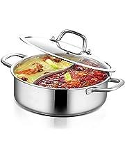 Shabu Pot roestvrij staal 304 hete pan inductie soeppan soep pan met dubbelzijdige verdeler + glazen deksel + soeplepel voor inductiekookplaat, elektrische keramische oven, gasfornuis (28 cm)