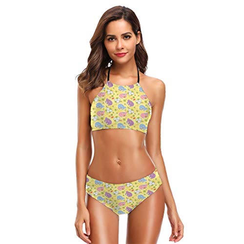 Women's Two Piece Bikini Swimsuits,Blossoming Cartoon Flowers and Animal Mascots Balloons Bow Ties Playful Clip Art M