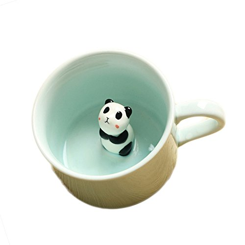 ZaH 3D Coffee Mug Cute Animal Inside Cup Cartoon Ceramics Figurine Teacup Christmas Birthday Gift for Boys Girls Kids - Party Office Morning Mugs for Tea Juice Milk Chocolate Cappuccino (8 oz Panda) ()