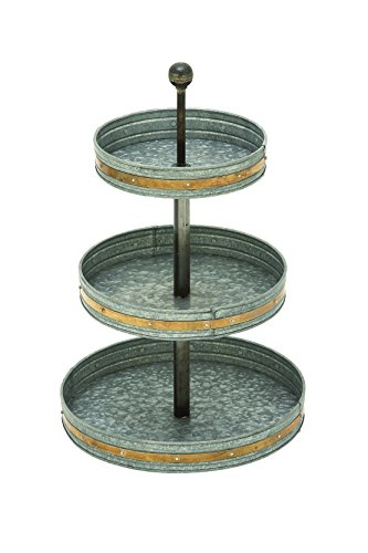 Deco 79 Farmhouse 3-Tiered Round Metal Galv Tray 15
