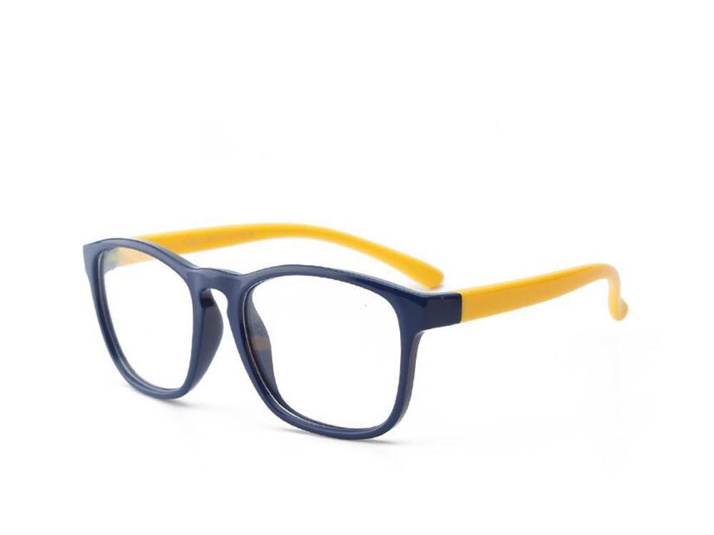 HJXJXJX Kinder Silikon-Material retro Brillengestell Brille ebener Spiegel große Jungen und Mädchen Rahmen , purple and yellow