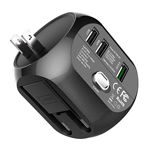 CCJK Universal Travel Adapter, International Power Adapter Quick Charge 3.0A USB All in One Worldwide Wall Charger AC Plug Adapter With 6A Smart Power for USA EU UK AUS (Black)