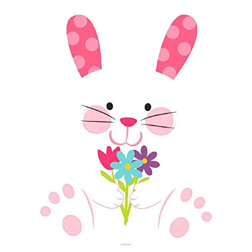 Amscan Egg-Stra Adorable Easter Bunny with Flowers Cutout Party Decoration, 15 1/2