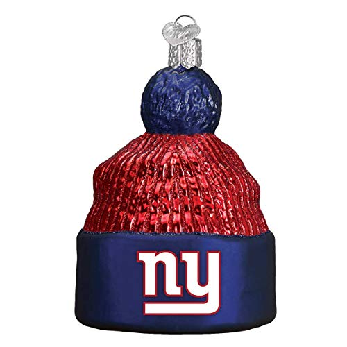 Personalized New York Giants Beanie Glass Blown Christmas Ornament for Tree by Old World Christmas (Giants Ornament Glass York New)