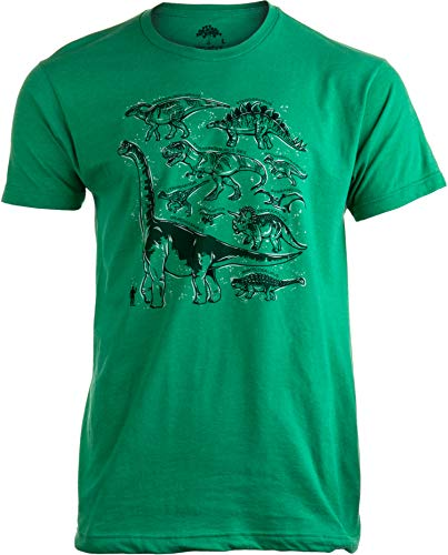 Dinosaur Species | Dino Fan Party Costume T-Rex Raptor Shirt Men Women T-Shirt-(Green,XL) -