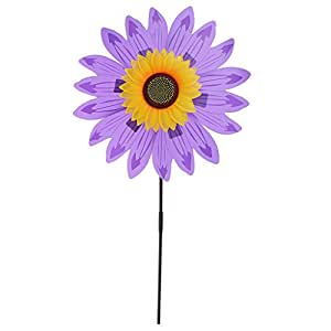 MagiDeal 36cm DIY Sunflower Windmill Wind Rotator Pinwheel Kid Outdoor Playground Toy Garden Lawn Decoration Kits - Purple, as described