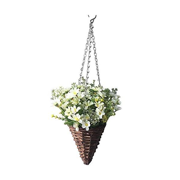 Lopkey Lifelike Artificial Daisy Flowers Outdoor Silk Daisy Indoor Patio Lawn Garden Mini Hanging Basket with Chain Flowerpot,White