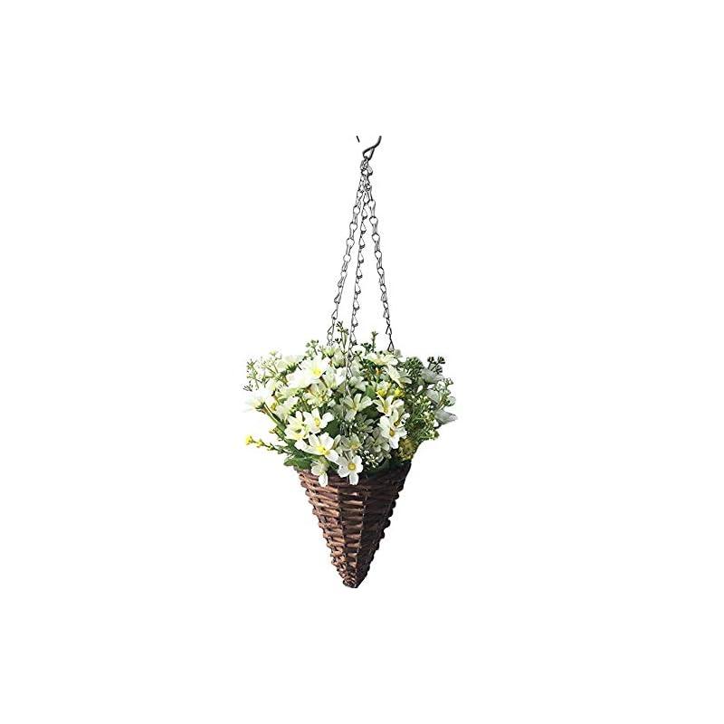 silk flower arrangements lopkey lifelike artificial daisy flowers outdoor silk daisy indoor patio lawn garden mini hanging basket with chain flowerpot,white