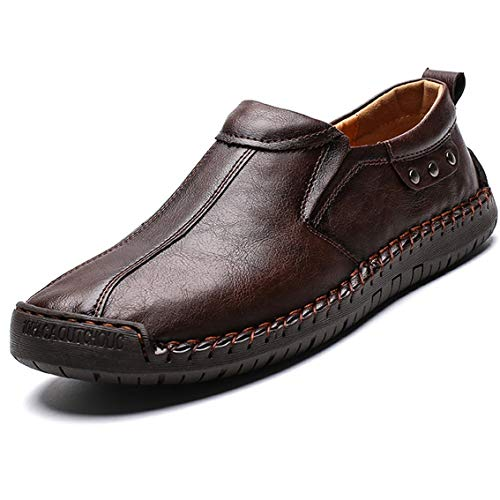 MAIZUN Mens Casual Leather Loafers Slip on Lightweight Driving Shoes Comfortable Flat Boat Walking Shoes