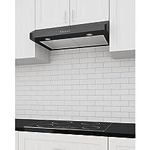 Ancona SP Slim Range Hood, Under Cabinet with LED Lights, Black 30-inch