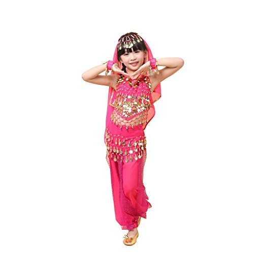 Pilot-trade Kid Elegant Belly Dance Suit for Children Costume 5 Pieces ( Dark Pink , M ) (Sexy Belly Dance Costumes)