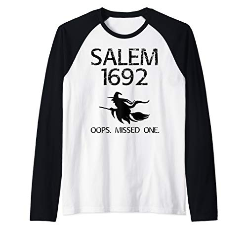 Salem Witch Trials Funny Oops Missed One Halloween Gift Raglan Baseball -