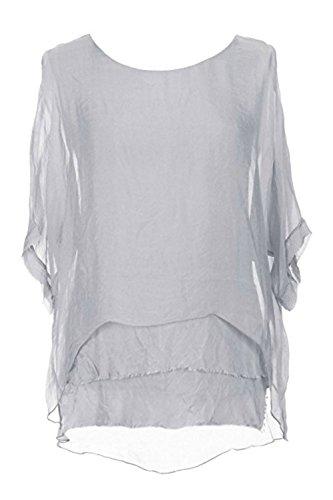 (Sevello Clothing Womens Italian Short Sleeve Frill Silk Tunic Blouse USA 6-12 (Light Grey))
