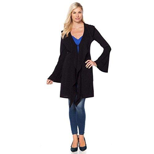 Rhonda Shear Ahh Dreams Long Bell-Sleeves Ruffle Duster Black 1X New 567-062 (Sleeve Duster)