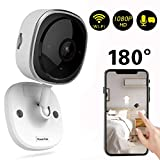 Wireless Security Camera 1080P,180 Degree Panoramic Camera with Motion Detection,Night Vision,Two-Way Audio,Home Security WiFi IP Camera for Office/Baby/Nanny/Pet Monitor (1 Pack)