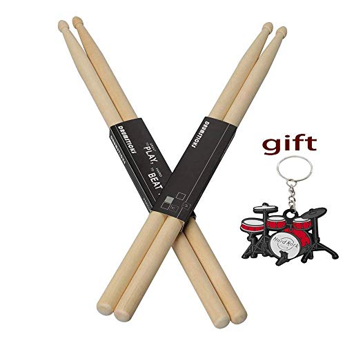 YXwin Drum sticks 5A Drumsticks Maple Wood Tip 2 Pack American Classic Drum Stick For Kids Child Adult Men Women Students Children Music Drum Sticks in Rock Jazz Funk Band ()