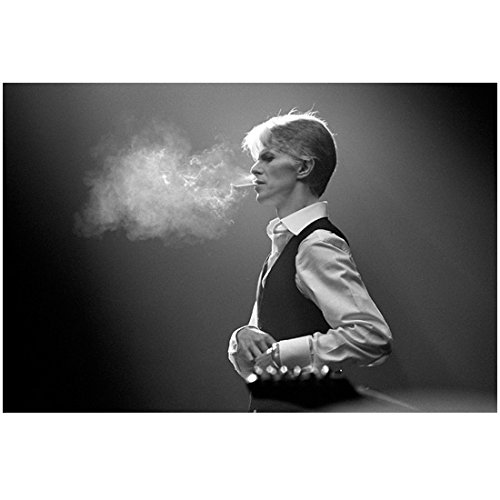 David Bowie 8 inch by 10 inch PHOTOGRAPH Labyrinth Basquiat The Hunger The Man Who Fell to Earth B&W Pic from Waist Up Blowing Smoke from Cig kn