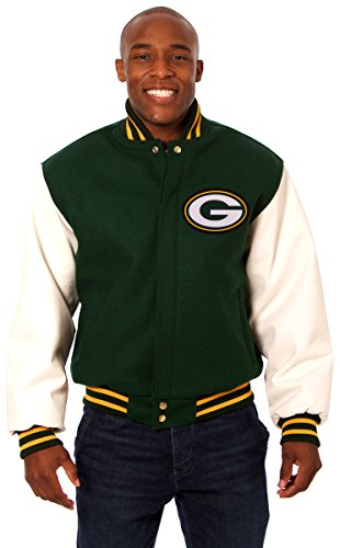 Green Bay Packers Men's Wool & Leather Jacket with Embroidered Applique Team Logos (Large)