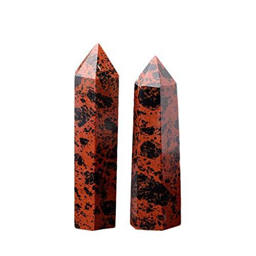 Decor Stone - 100 Natural Red Black Obsidian Crystal Pillar Hexagonal Prism Quartz Stone Ornaments Treatment 50 - Bathroom Earrings Necklace Drop Women Sink Beads Pillar Stone Quartz Earings