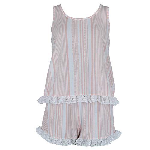 PJ Couture Women's Plus Size Racerback Tank and Shorts Pajama Set, 1X, Pink