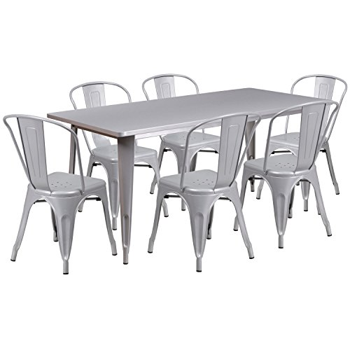 Flash Furniture 31.5'' x 63'' Rectangular Silver Metal Indoor-Outdoor Table Set with 6 Stack Chairs