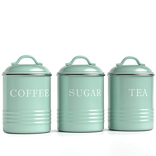 """Barnyard Designs Airtight Kitchen Canister Decorations with Lids, Mint Metal Rustic Farmhouse Country Decor Containers for Sugar Coffee Tea Storage (Set of 3) (4"""" x 6.75"""")"""