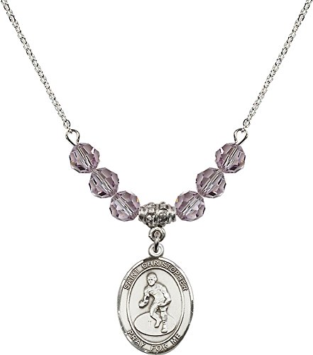Rhodium Plated Necklace with 6mm Light Amethyst Birthstone Beads & Saint Christopher/Wrestling Charm. by F A Dumont