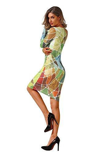 Manches Minces Mode Aiskly Occasionnels Femmes Robes Pour C0021 Robe D'impression