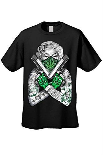 OKAYtshirt.com-4204-New Way Marilyn Monroe Weed Bandana Unisex Funny T-Shirt 3XL Black-B011YLTCN4-T Shirt Design
