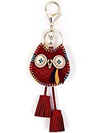 Owl Key Ring Chain, Nikang Handmade Leather Key Holder Metal Chain Charm with Tassels