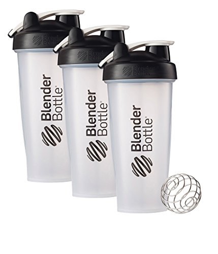 28 Oz. Hook Style Blender Bottle W/ Shaker Bundle-Clear Black-Pack of 3