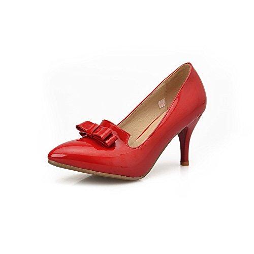 AgooLar Damen Spitz Zehe Hoher Absatz Lackleder Rein Ziehen auf Pumps Schuhe Rot