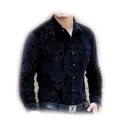 Herina, Mens Casual Slim Fit T-shirt, Velvet Shirts Long Sleeve Autumn & Winter. (M, - Dr Beverly Los Angeles