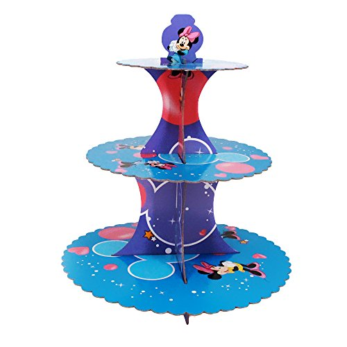 Minnie Mouse Cardboard Cupcake Stand - 3-Tier Round Tower - For Children's Birthday Parties and Special Occasions by Trimming -