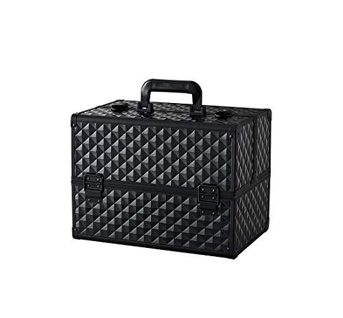 Makeup Case - Professional Portable Aluminum Cosmetics Storage Box With Locks and Folding Trays Black