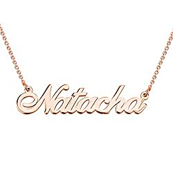 Hacool 925 Sterling Silver Personalized Name Necklace Made With Name 16 Adjustable Chain Rose Gold Plated Copper
