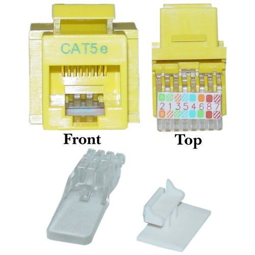 Cat5e Keystone Jack, Yellow, Toolless, RJ45 Female - Inline UTP Lan Modular Patch Stand Punch Down Panel