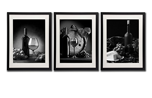 Red Wine Pictures Wall Art Decor Bottle Glass Grapes Fruit Canvas Print Painting Black And White Poster Printed On Canvas 3 Piece Black Frames White Mat Photo Vintage Artworks For Kitchen Decorations