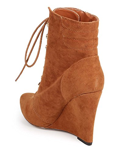 Liliana Pointy Toe Bootie Zip Suede DB97 Wedge Sole Tan Women Single xTTPa1wf